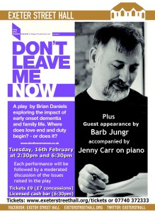 Don't Leave Me Now + Barb Jungr  (2:30pm & 6:30pm)